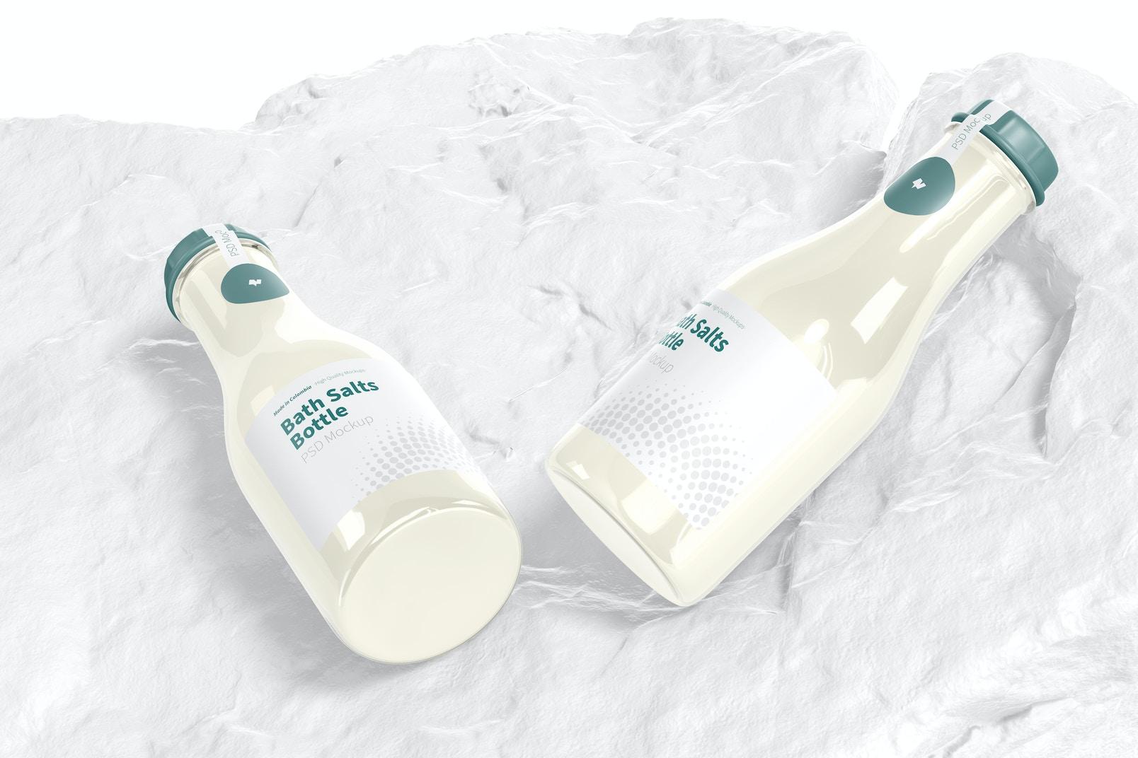 Bath Salts Bottles Mockup, Top View