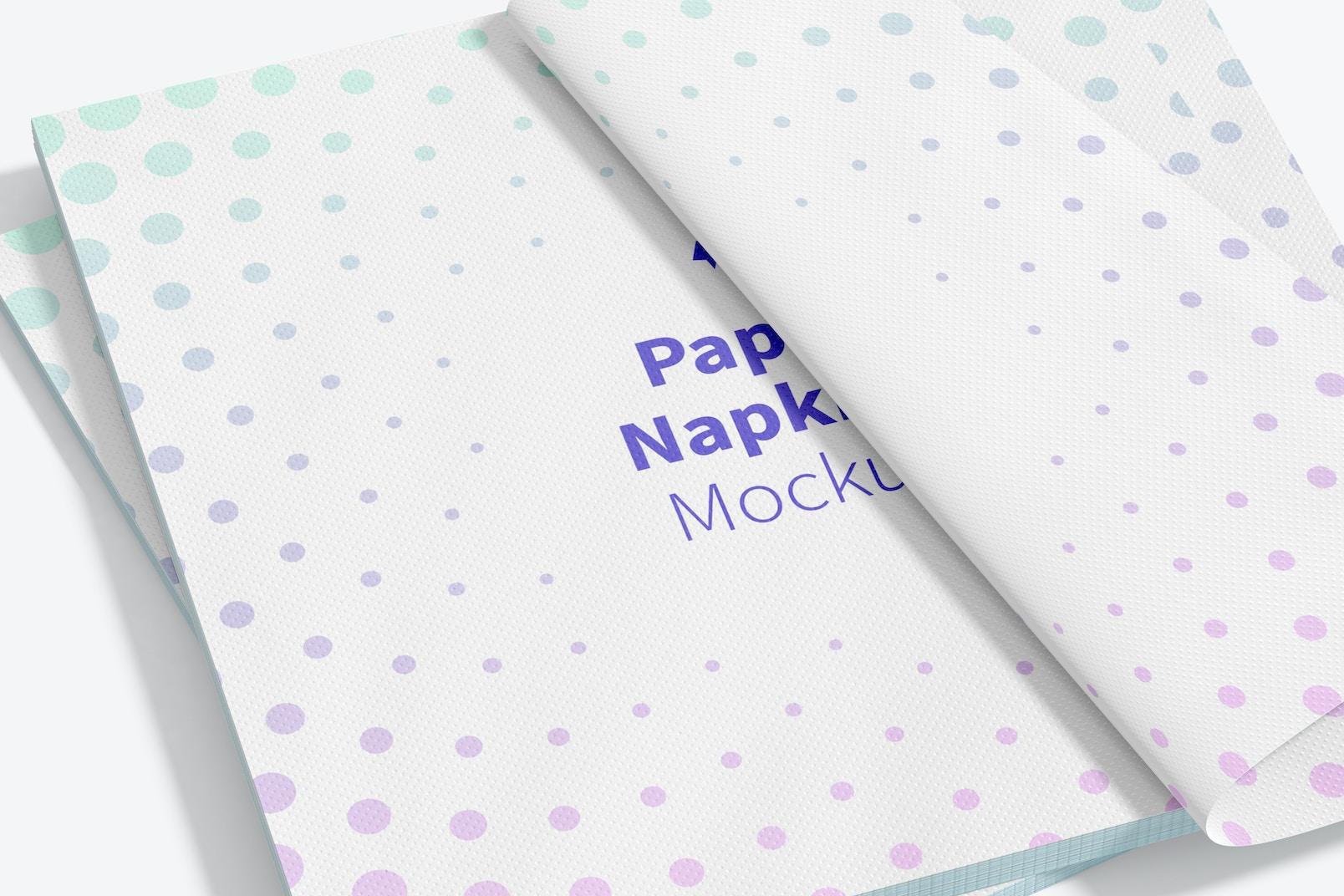 Paper Napkins Mockup, Close Up