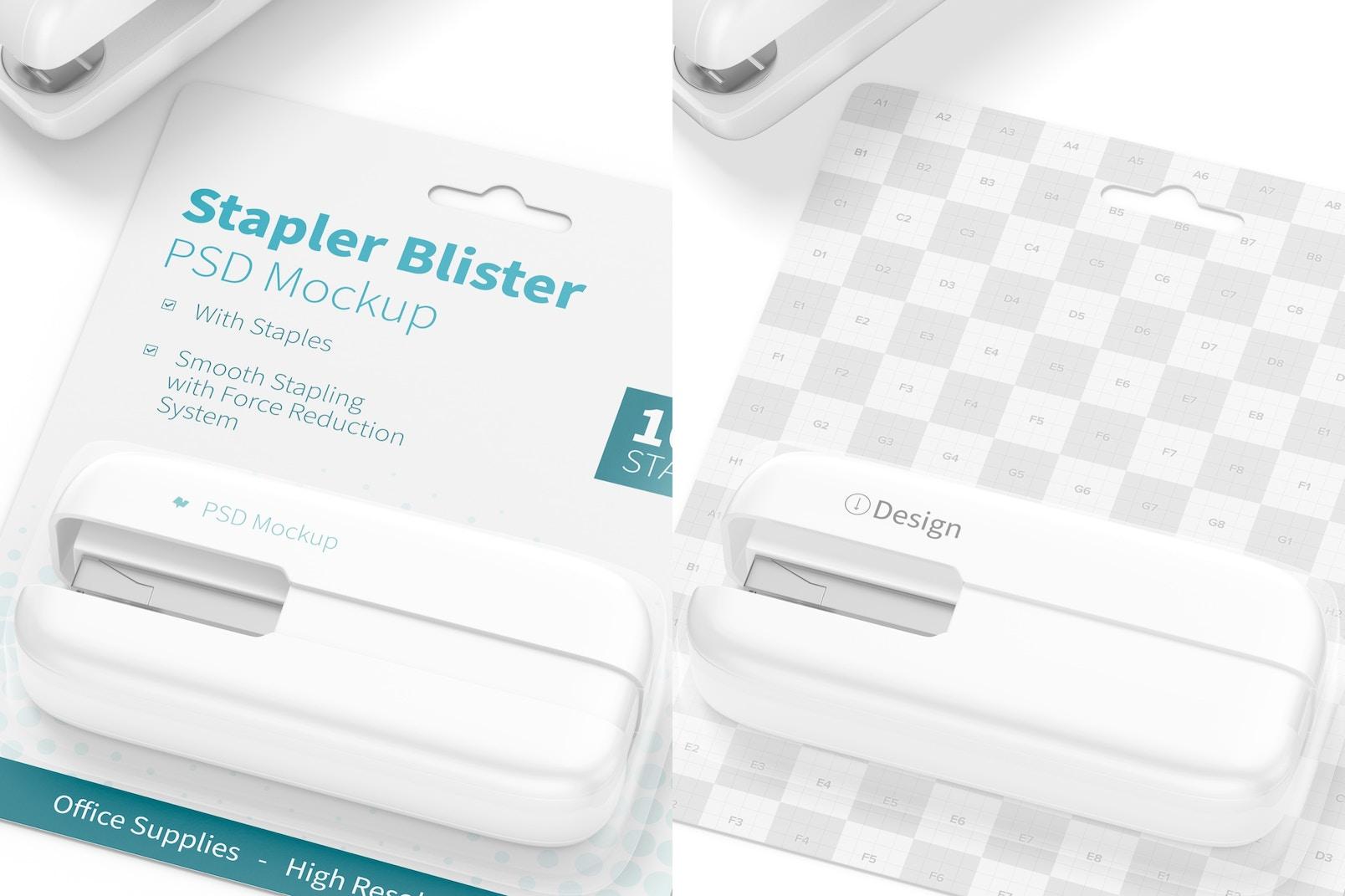 Stapler Blister Mockup, Close Up