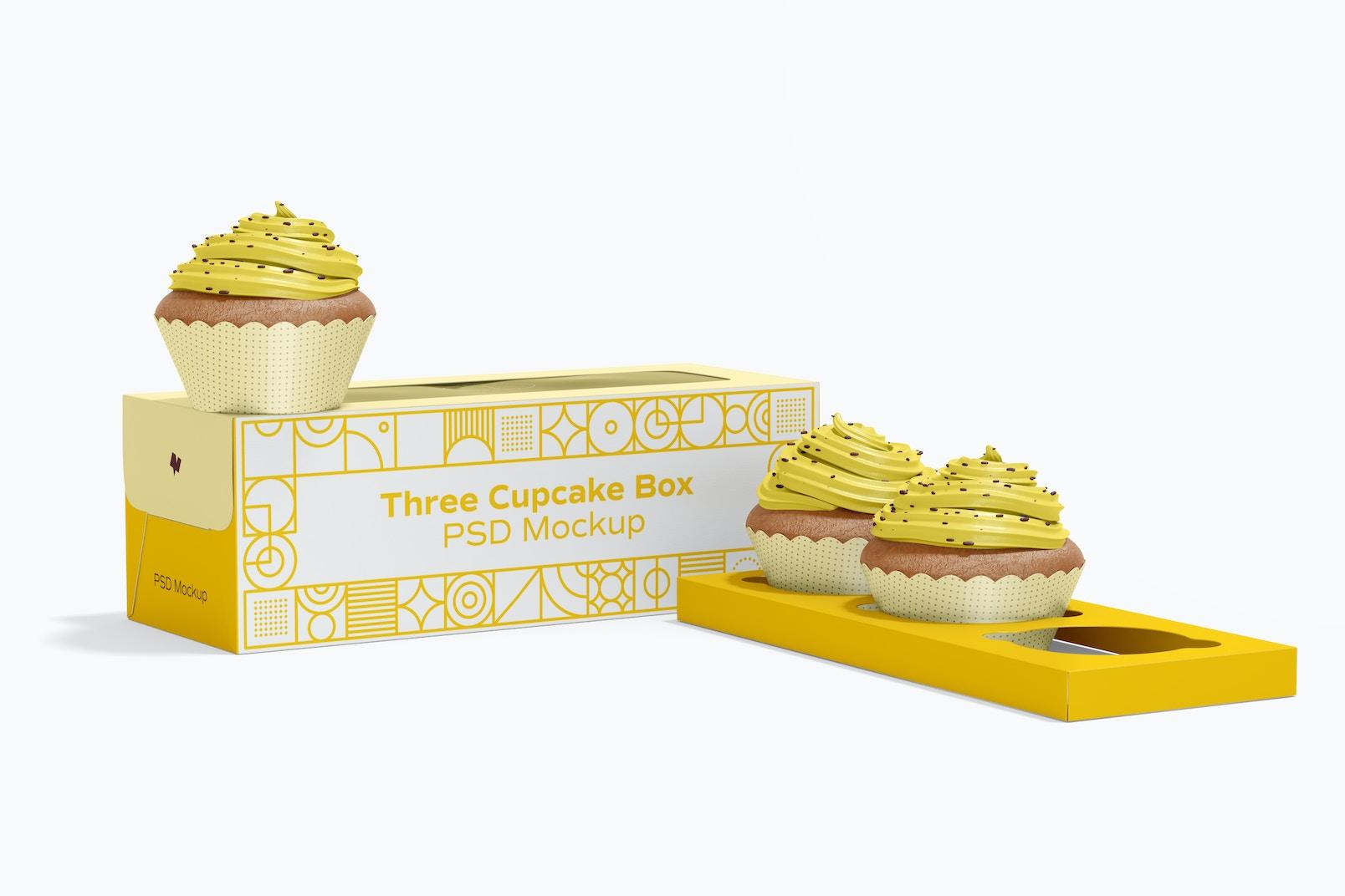 Three Cupcake Box Mockup, Perspective