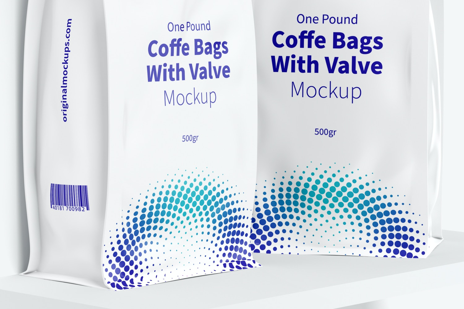 One Pound Coffee Bags with Valve Mockup, On Shelf