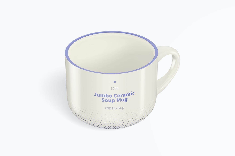 15 oz Jumbo Ceramic Soup Mug Mockup, Isometric Right View