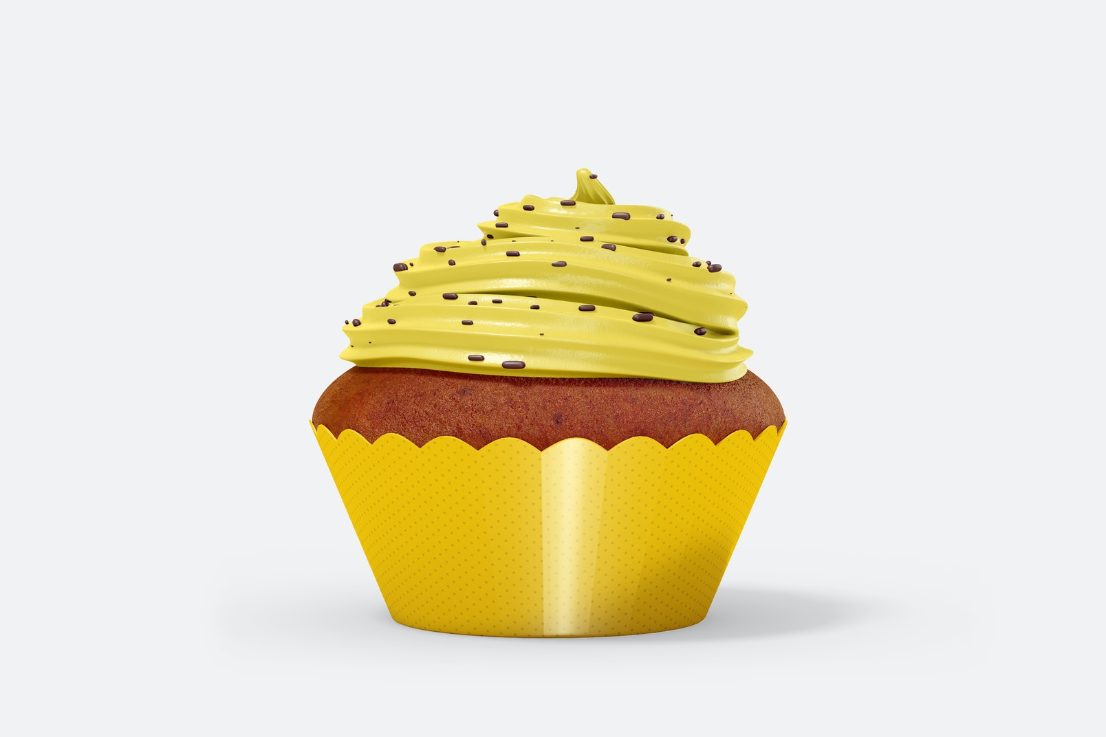 Cupcake with Wrapper Mockup, Front View