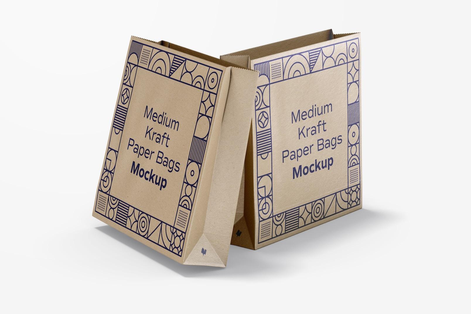 Medium Kraft Paper Bags Mockup, Front View