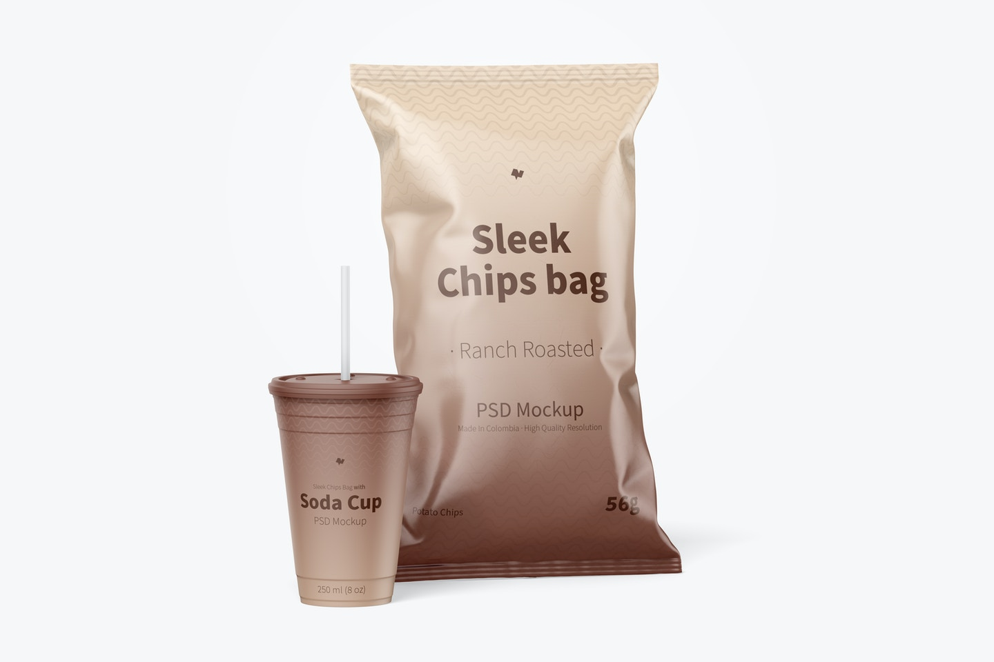 Sleek Chips Bags Mockup with Soda Cup