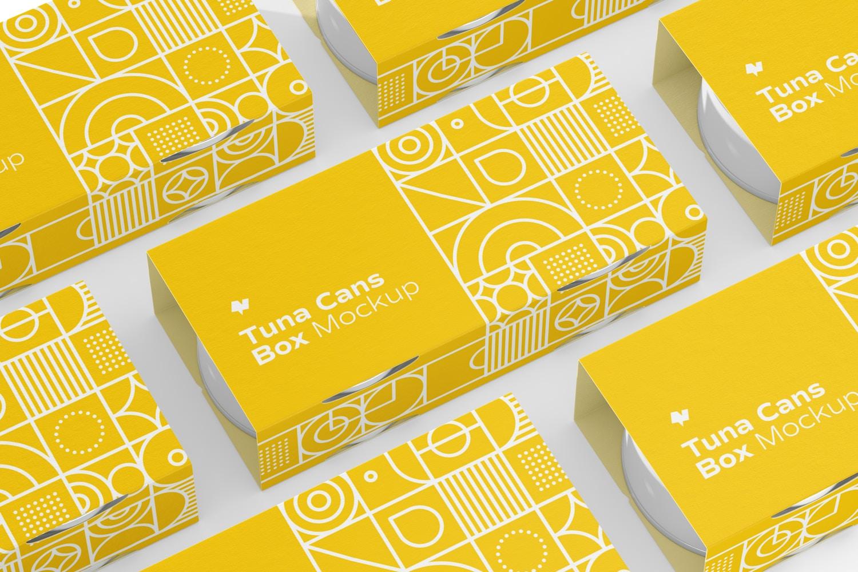 Tuna Cans Boxes Set Mockup