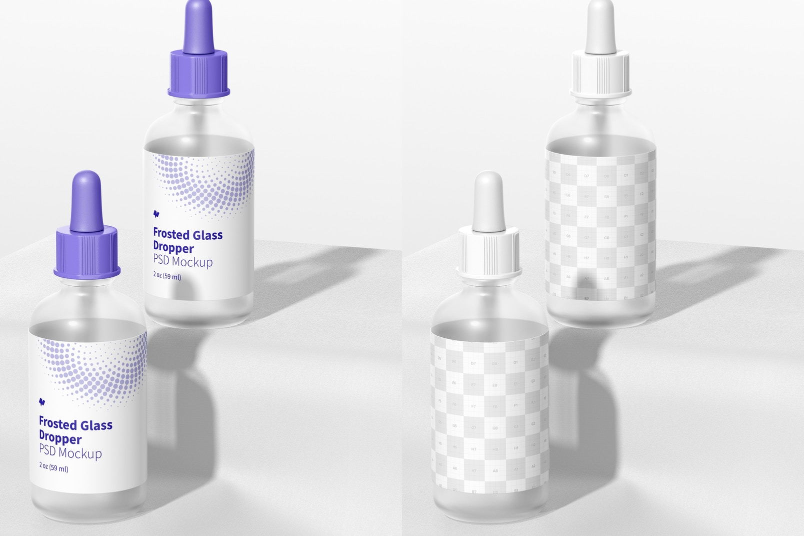 2 oz Frosted Glass Droppers Mockup