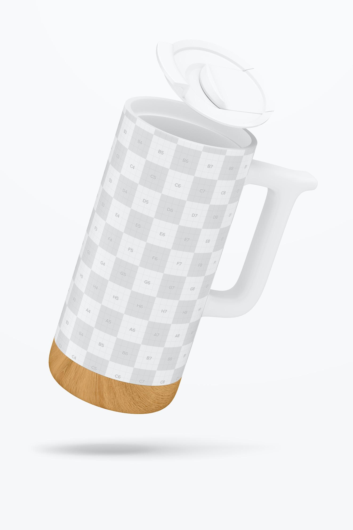 16 oz Ceramic Mug with Wood Base Mockup, Floating