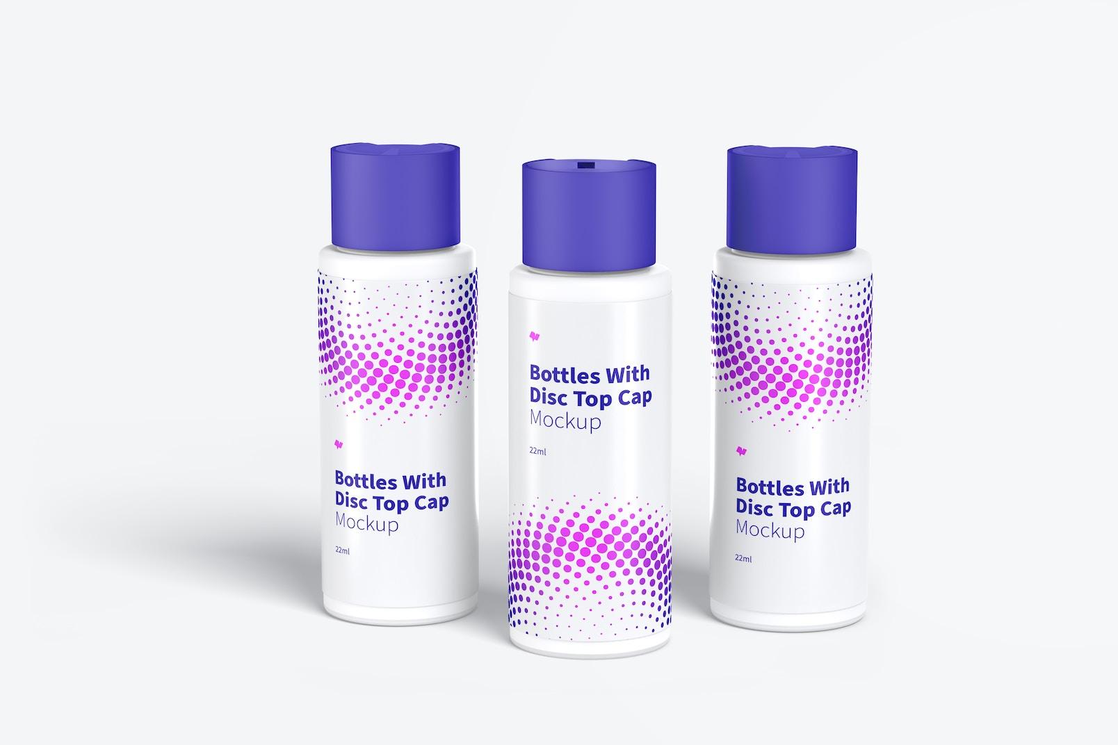 22ml Plastic Bottles With Disc Top Cap Mockup