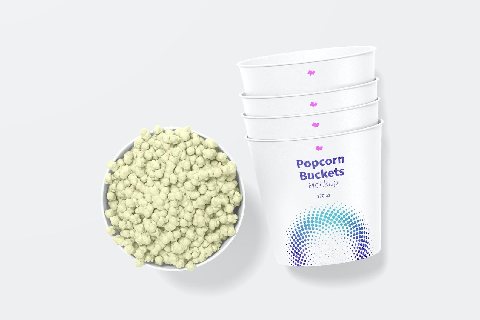 170 oz Popcorn Buckets Mockup, Top View
