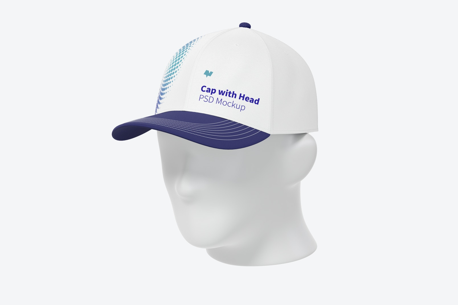 Cap with Head Mockup, 3/4 Front Right View