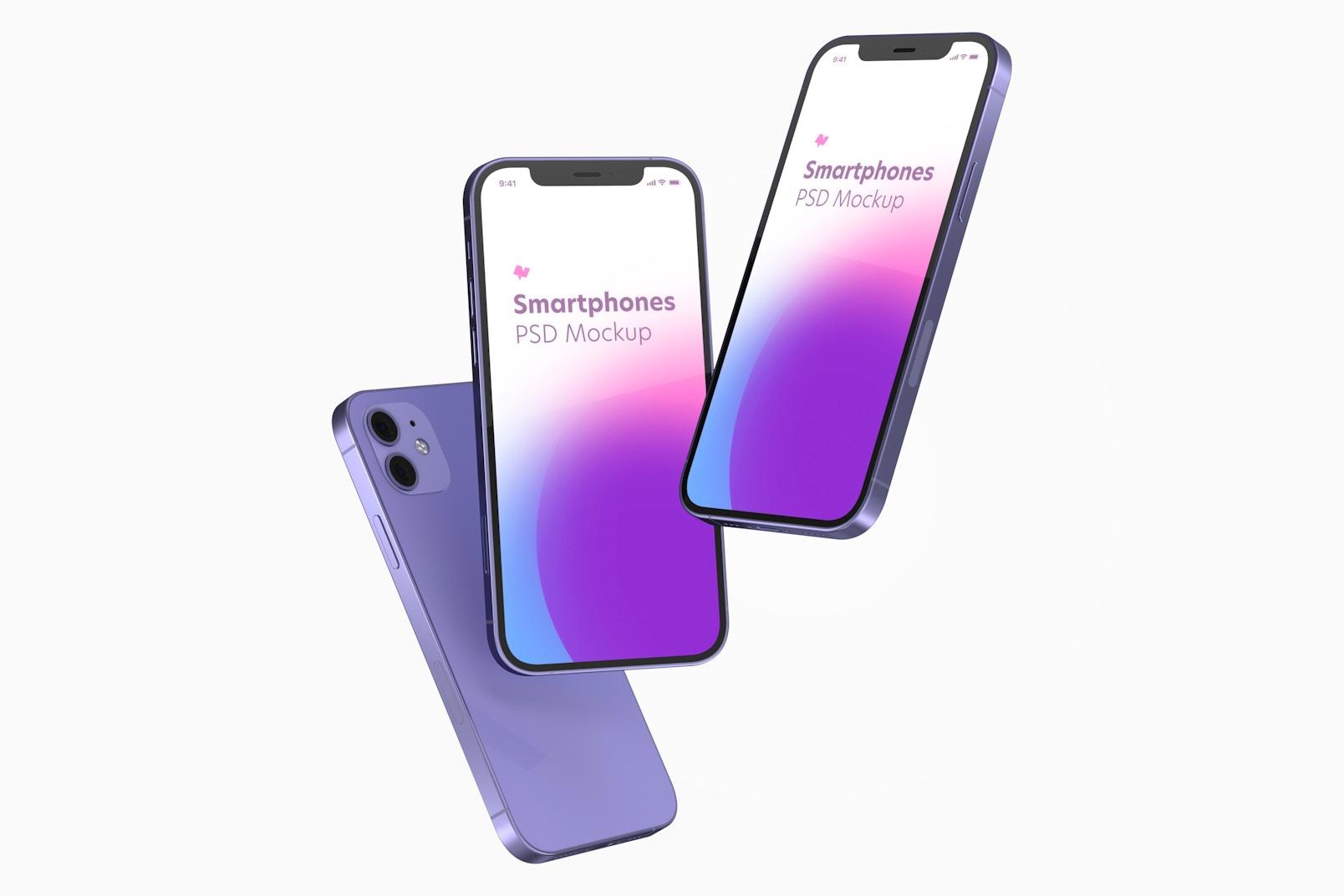 iPhone 12 Purple Version Mockup, Floating