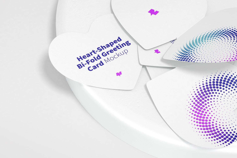 Heart-Shaped Bi-Fold Greeting Cards Mockup with Stone