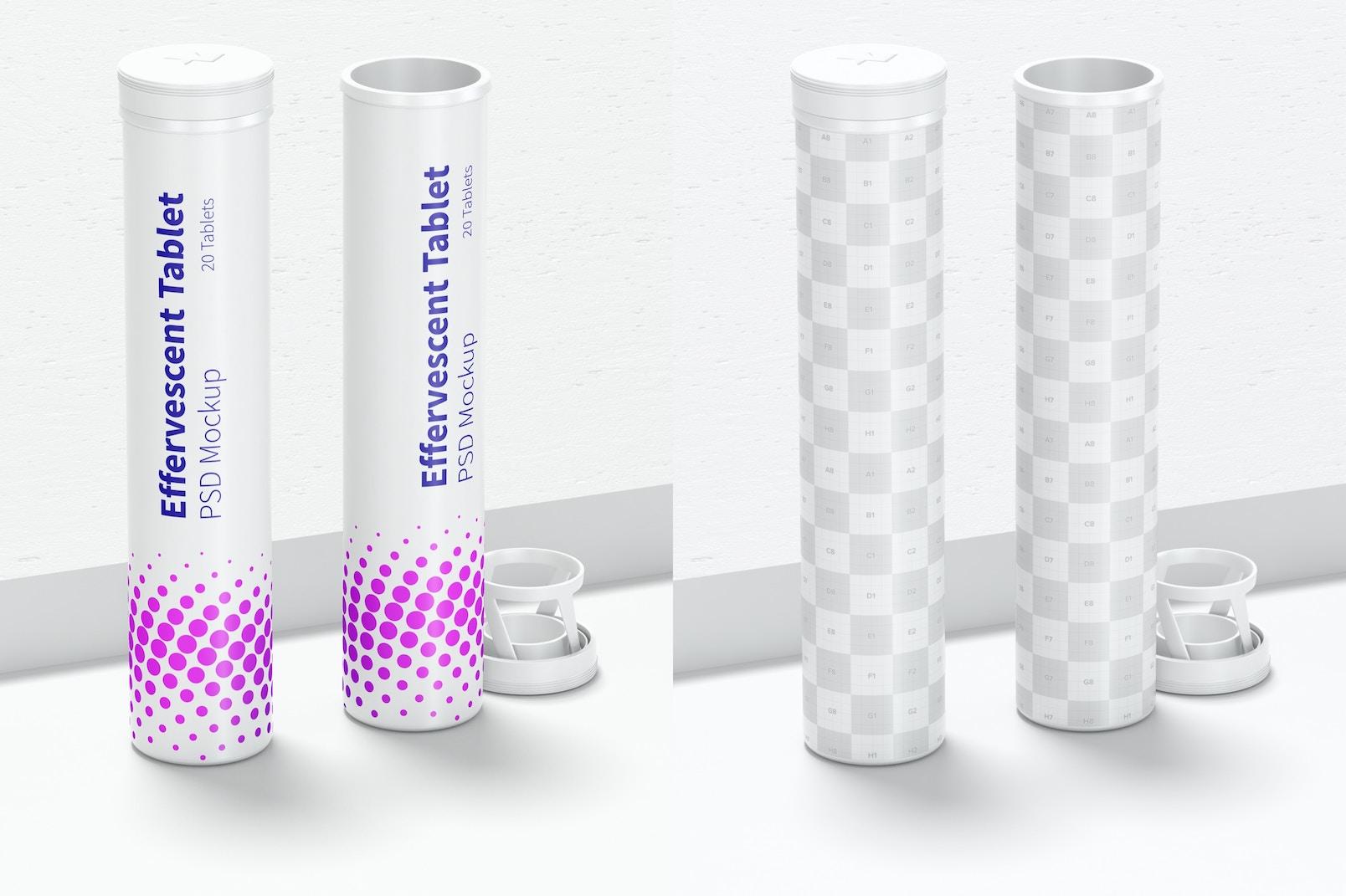 Effervescent Tablet Bottles Mockup, Front View