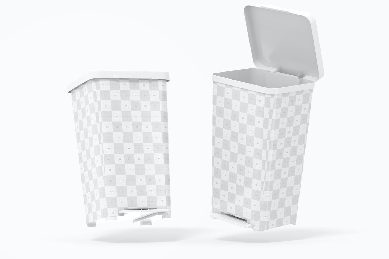 Cube Pedal Trash Cans Mockup 02