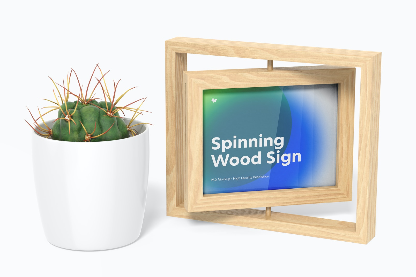 Spinning Wood Frame Sign with Pot Plant Mockup