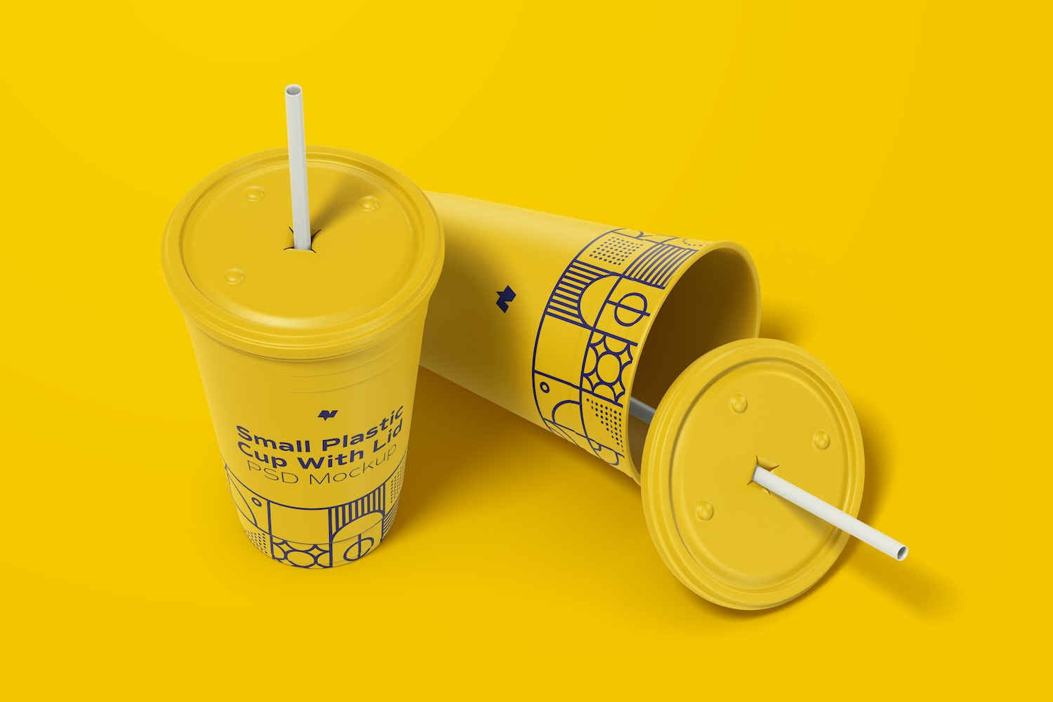 Small Plastic Cup with Lid Mockup, Dropped