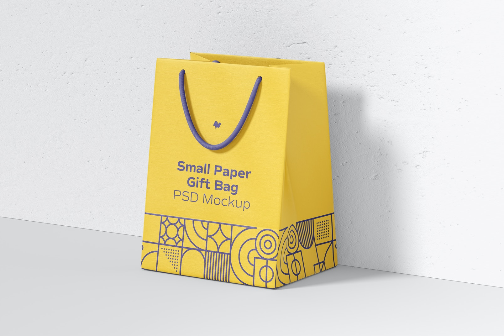 Small Paper Gift Bag With Rope Handle Mockup, Perspective