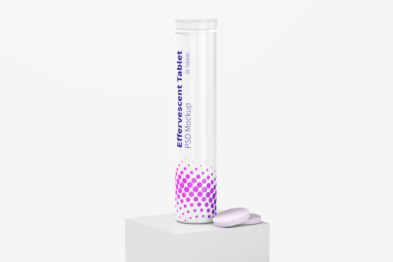 Effervescent Tablet Bottle Mockup, Perspective