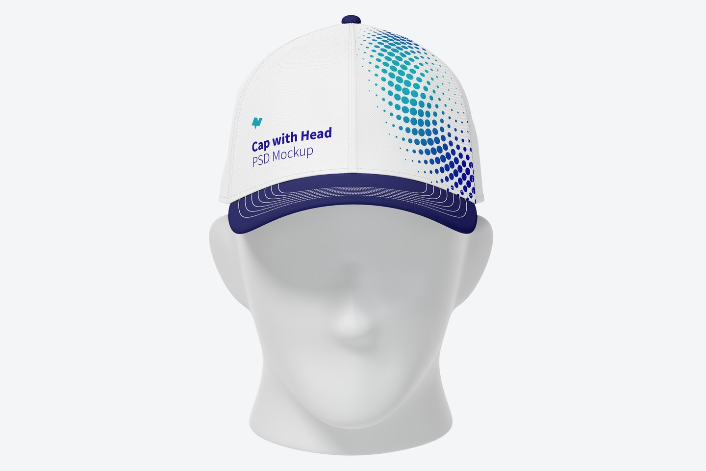 Cap with Head Mockup, Front View