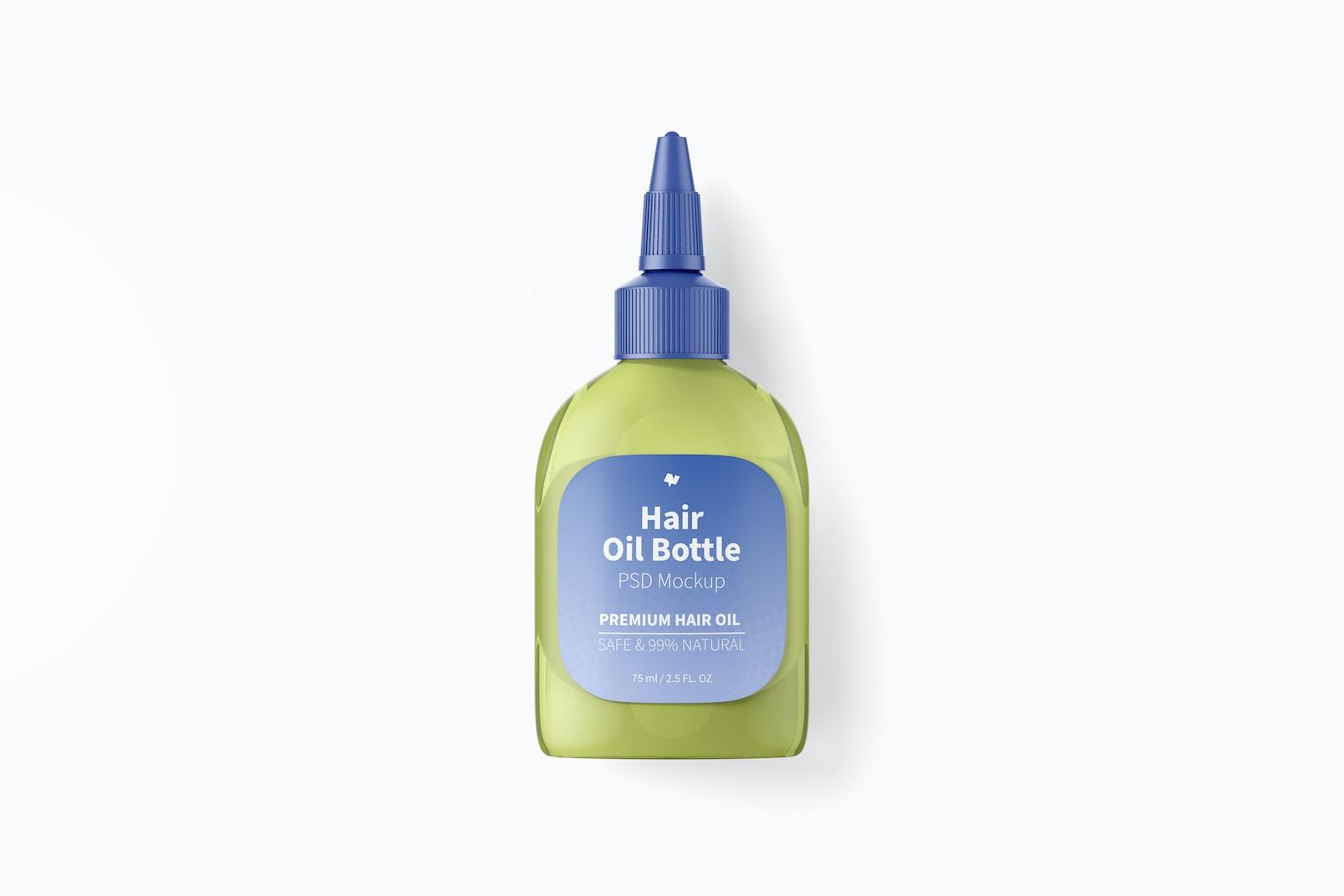 Hair Oil Bottle Mockup, Top View