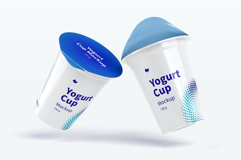 150 g Yogurt Cups Mockup, Falling
