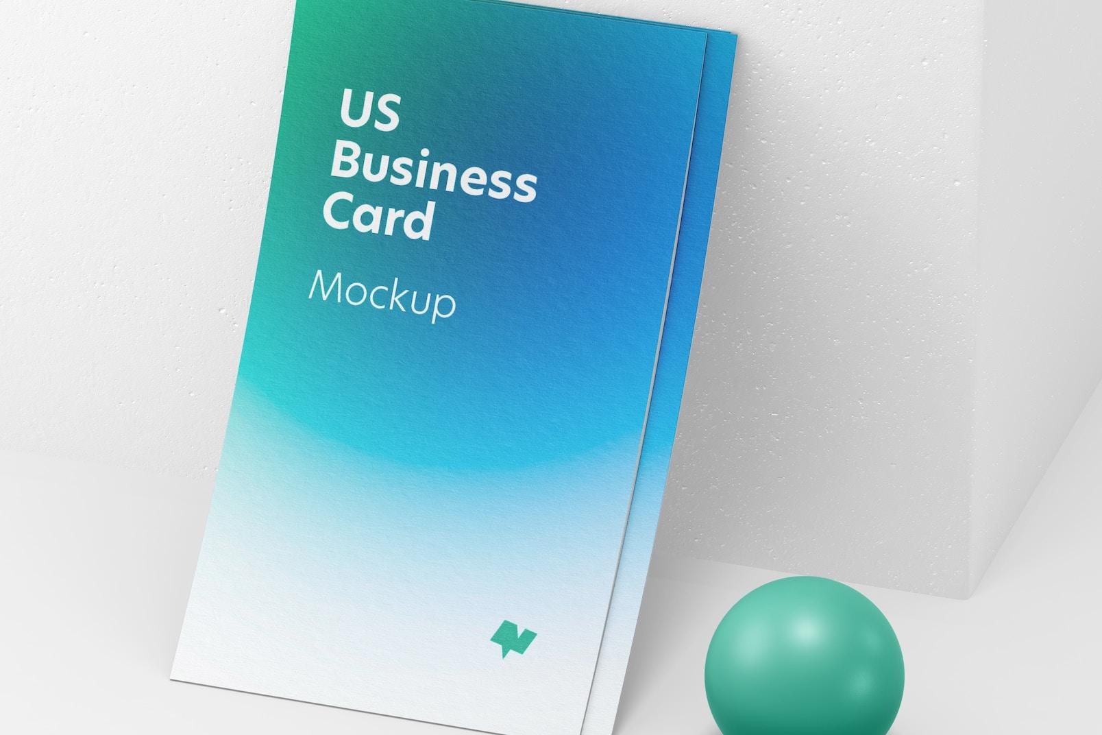 US Portrait Business Cards Set Mockup