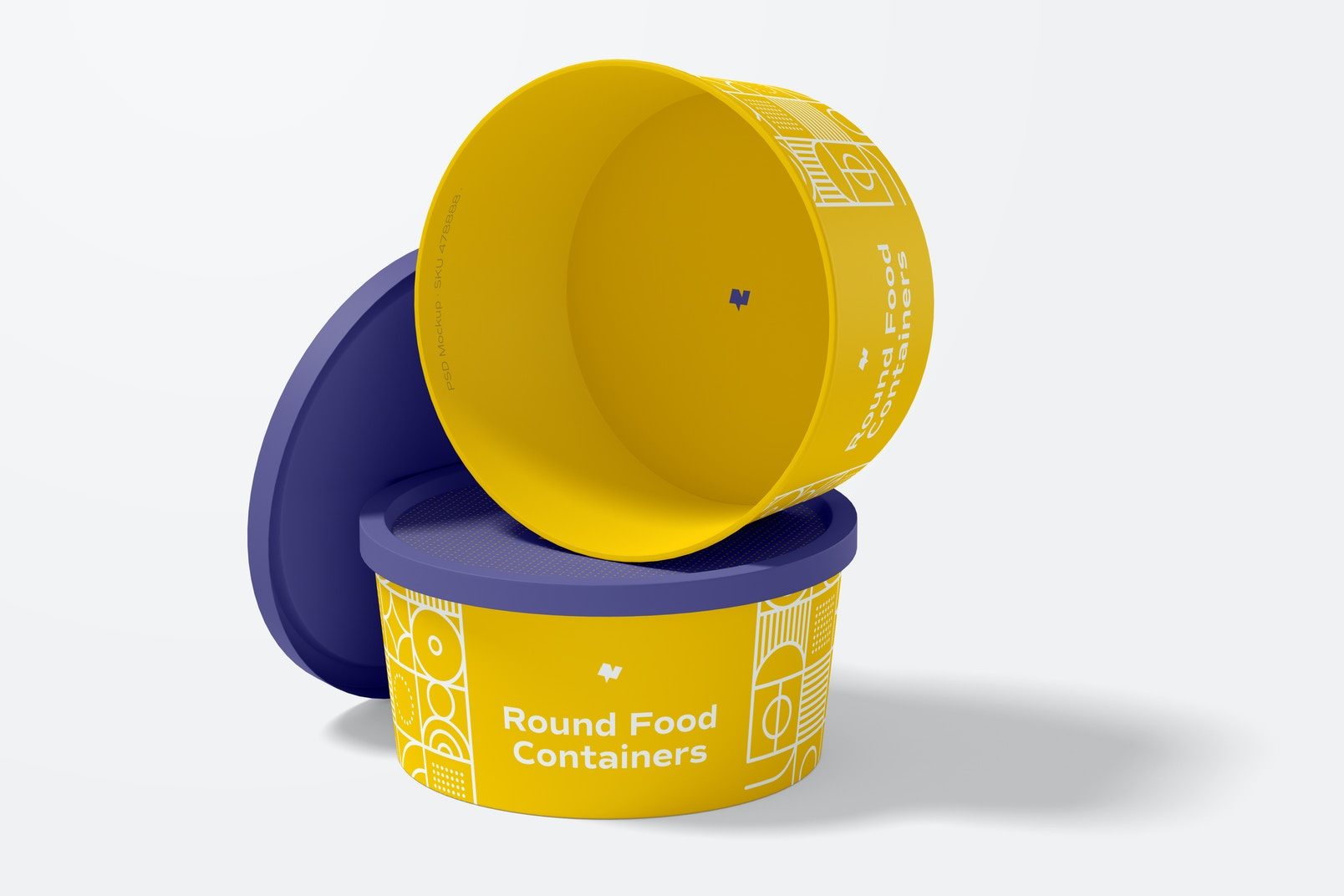 Round Plastic Food Delivery Containers Mockup, Opened and Closed
