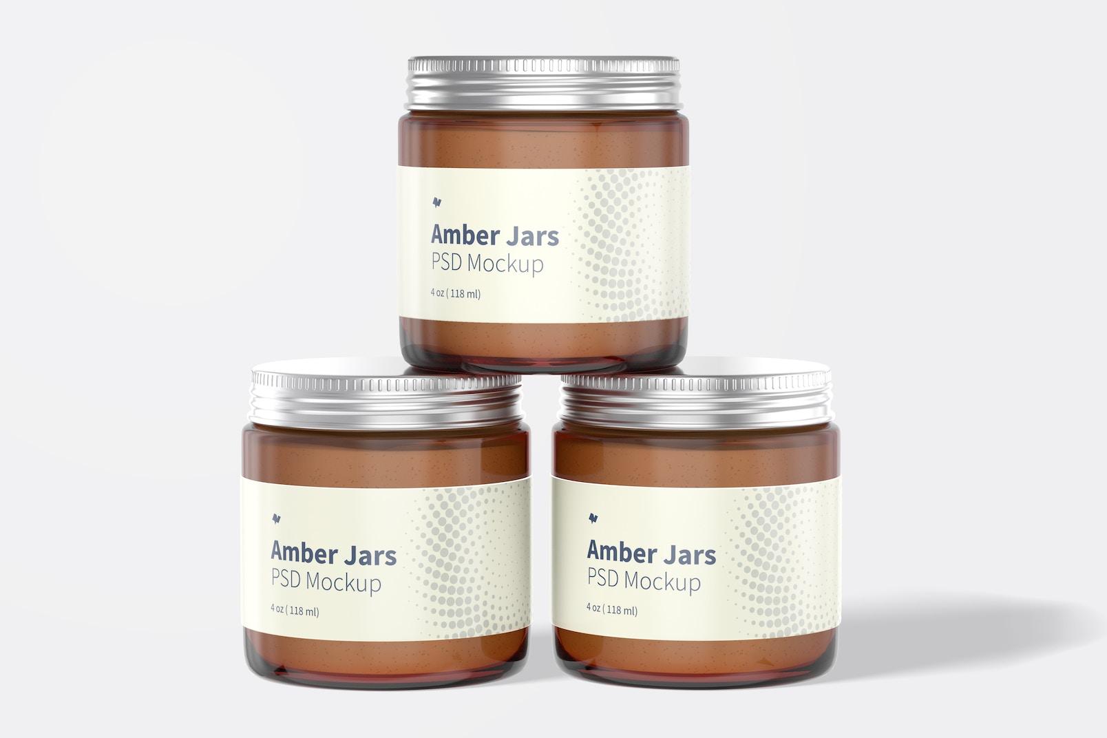Amber Jars with Metallic Cap Mockup, Front View