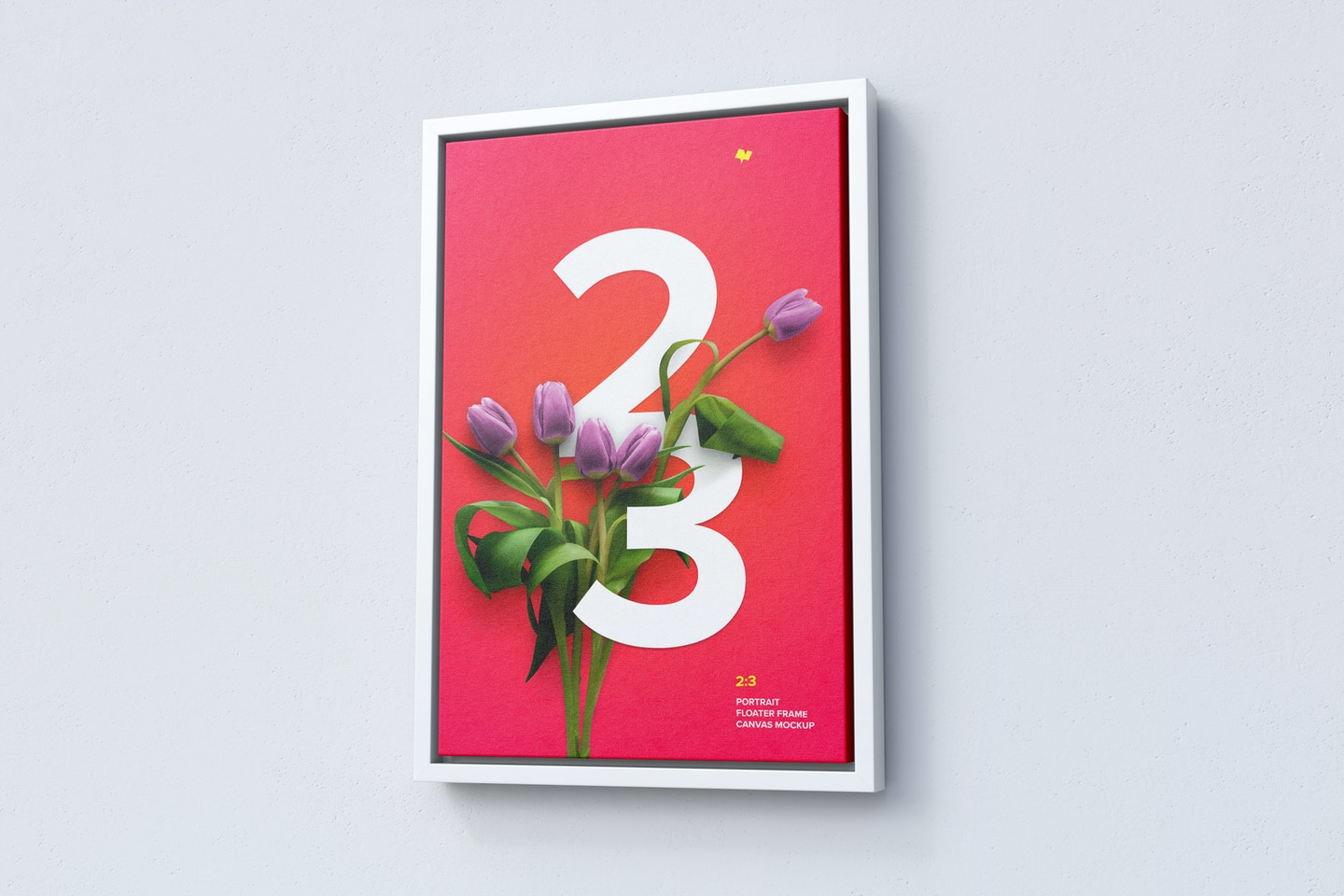 2:3 Portrait Canvas Mockup in Floater Frame, Right View