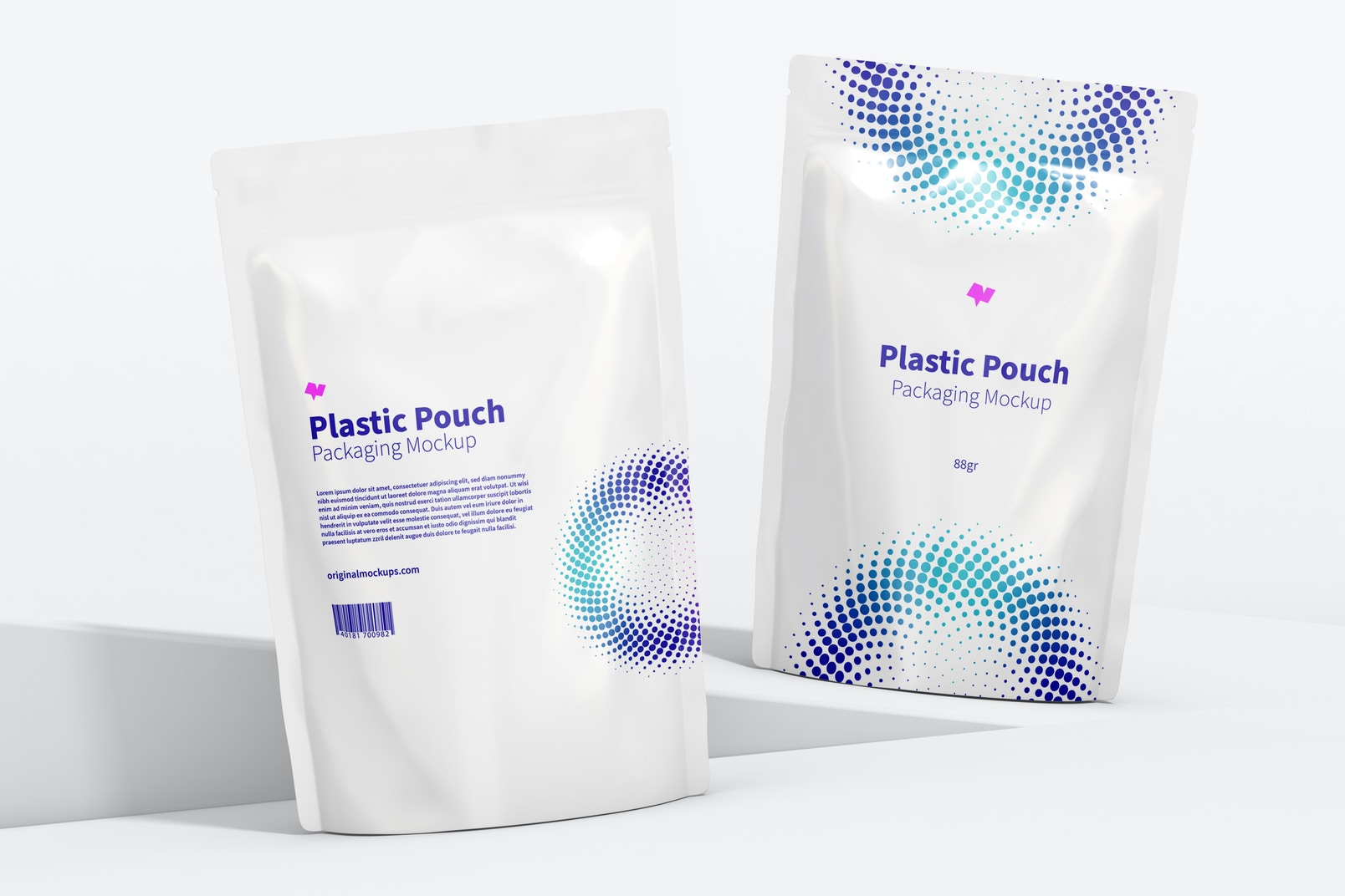 Plastic Pouches Packaging Mockup, Front View