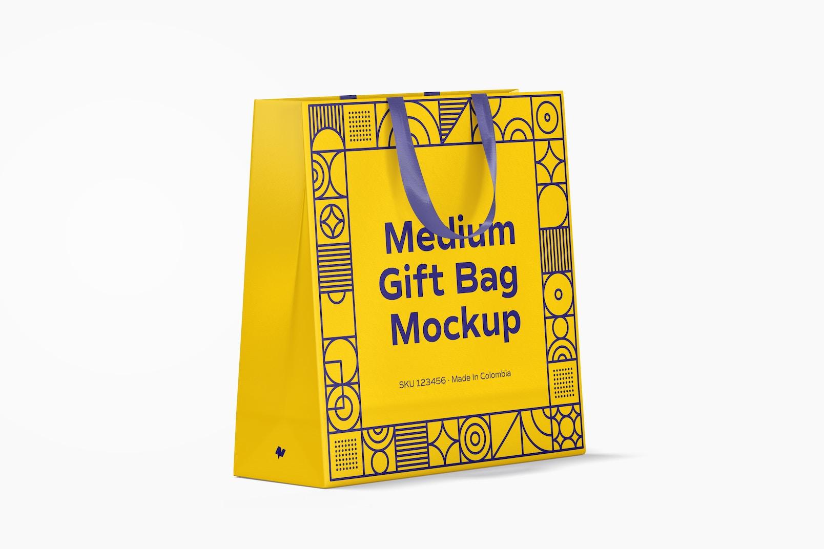 Medium Gift Bag with Ribbon Handle Mockup, Perspective