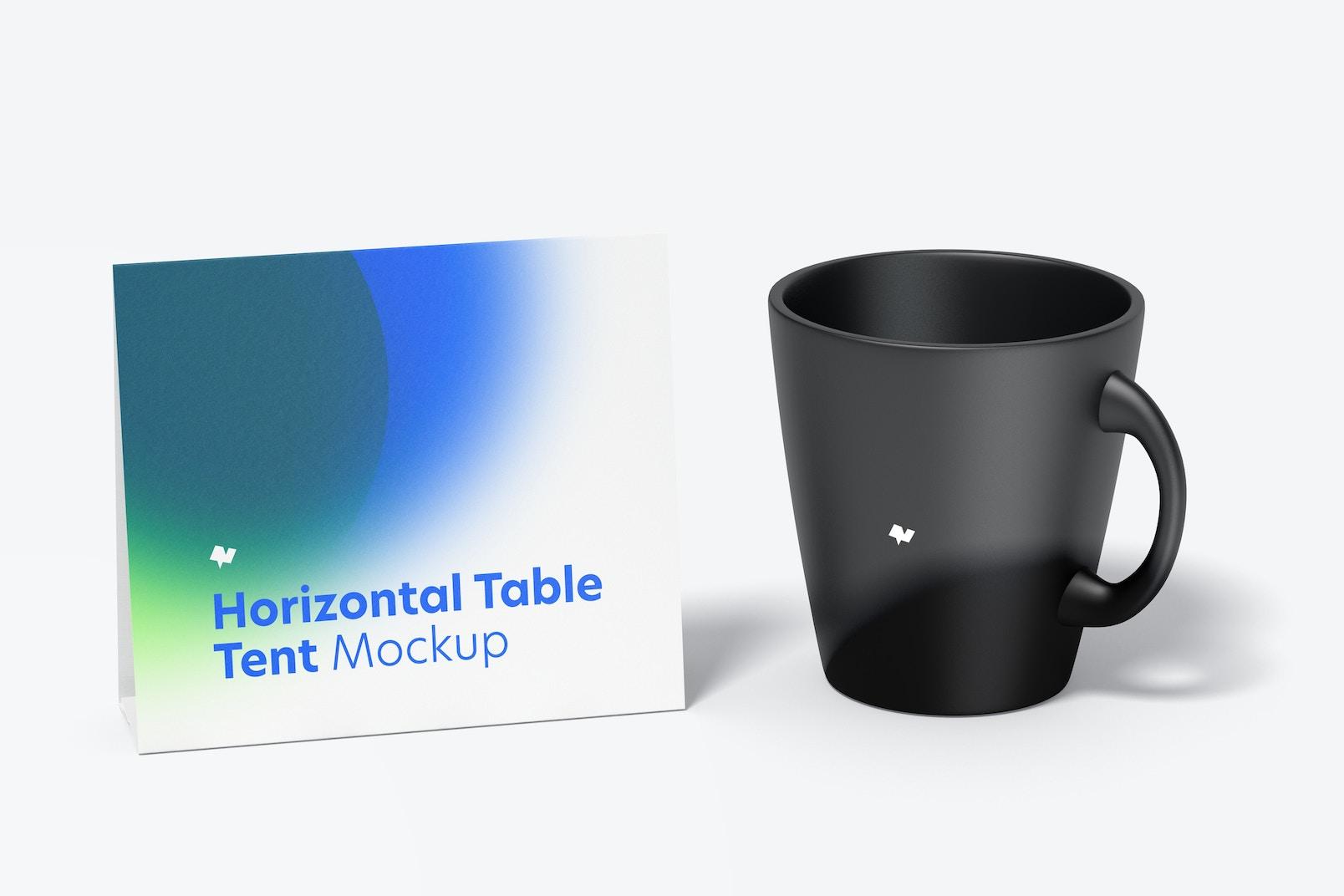 Horizontal Table Tent Card with Mug Mockup