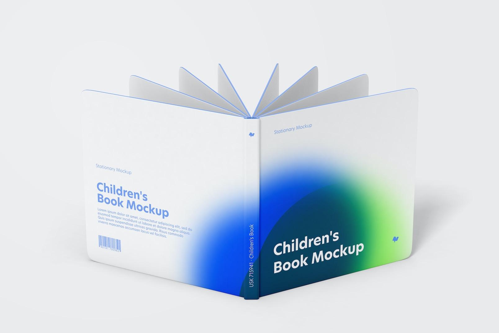 Children's Book Mockup, Opened