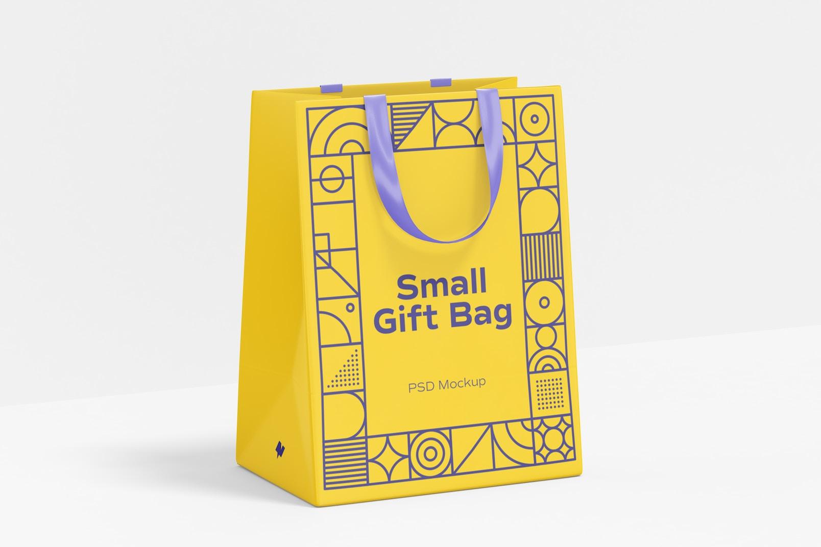 Small Gift Bag with Ribbon Handle Mockup
