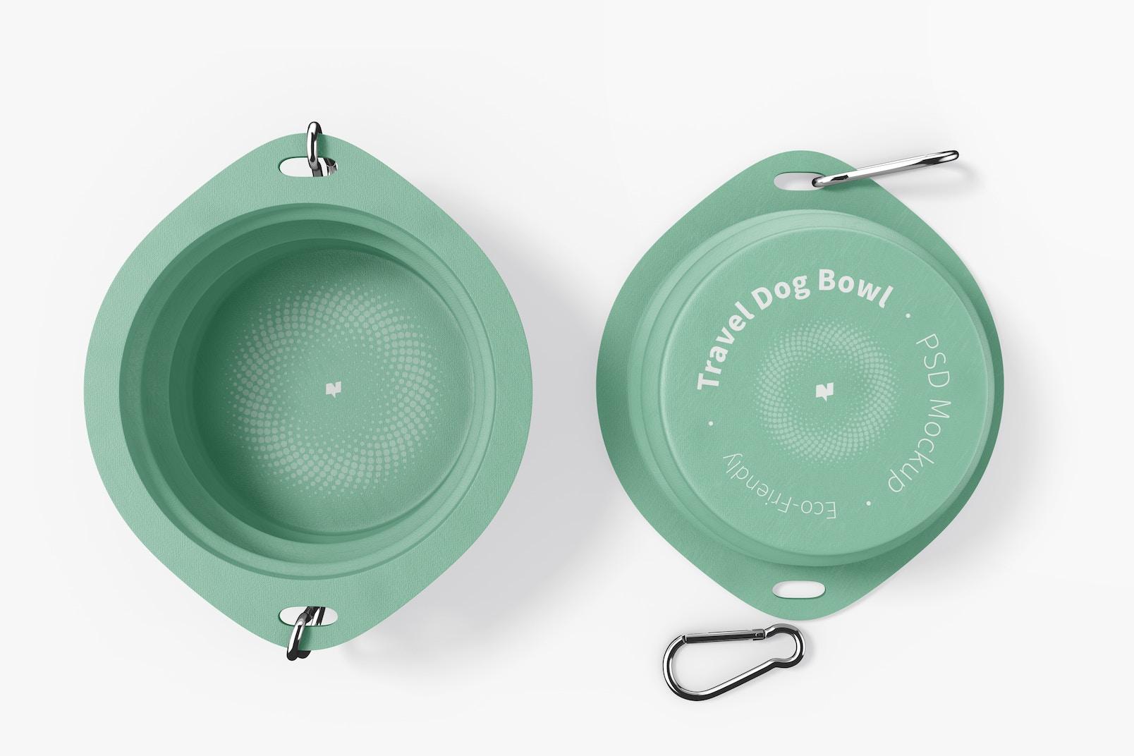 Travel Dog Bowls Mockup, Top View