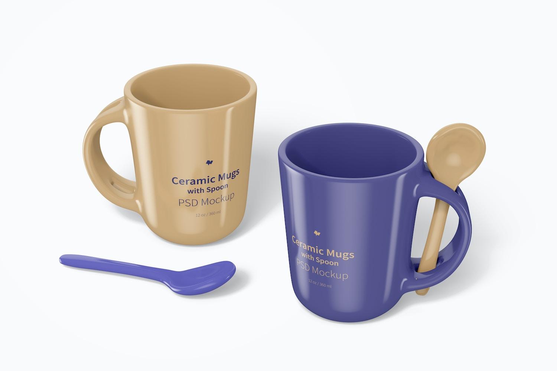 12 oz Ceramic Mugs with Spoon Mockup