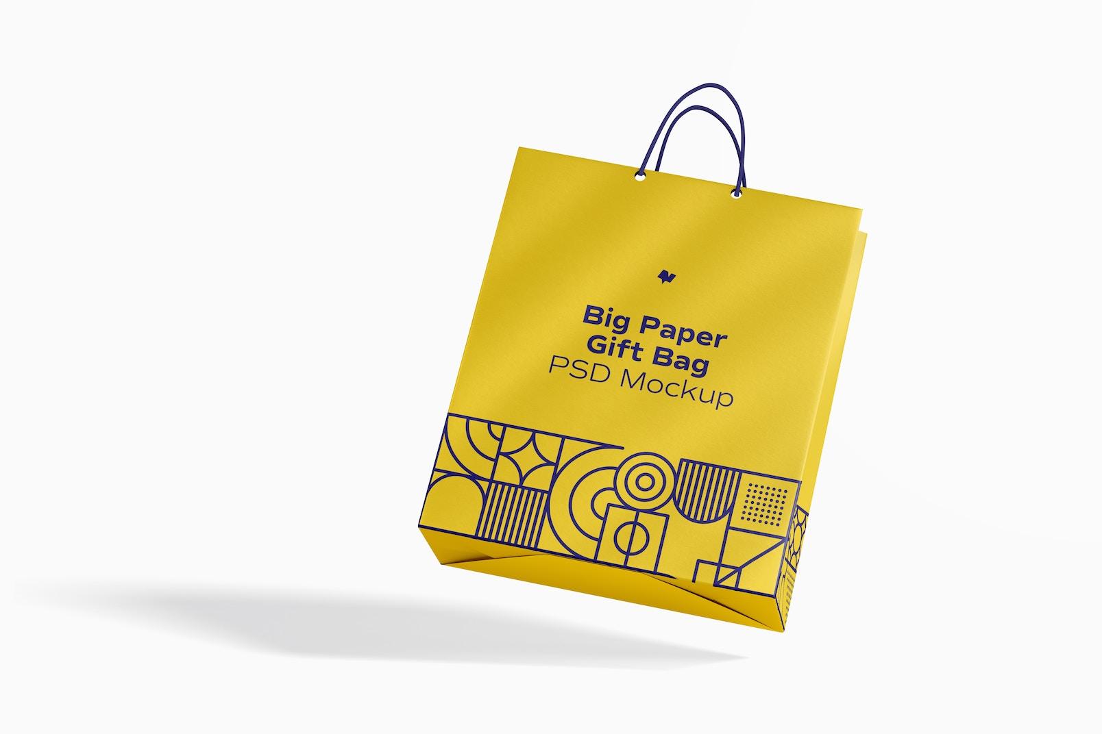 Big Paper Gift Bag With Rope Handle Mockup, Falling