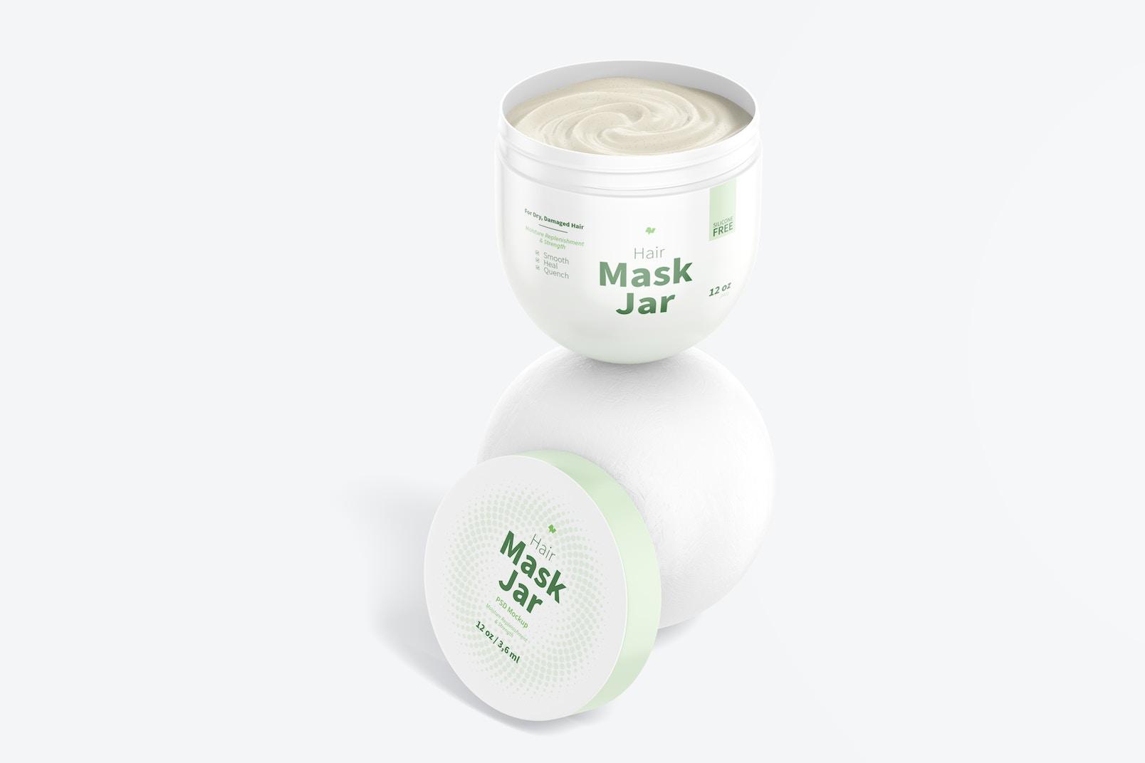 Hair Mask Jar Mockup, Opened