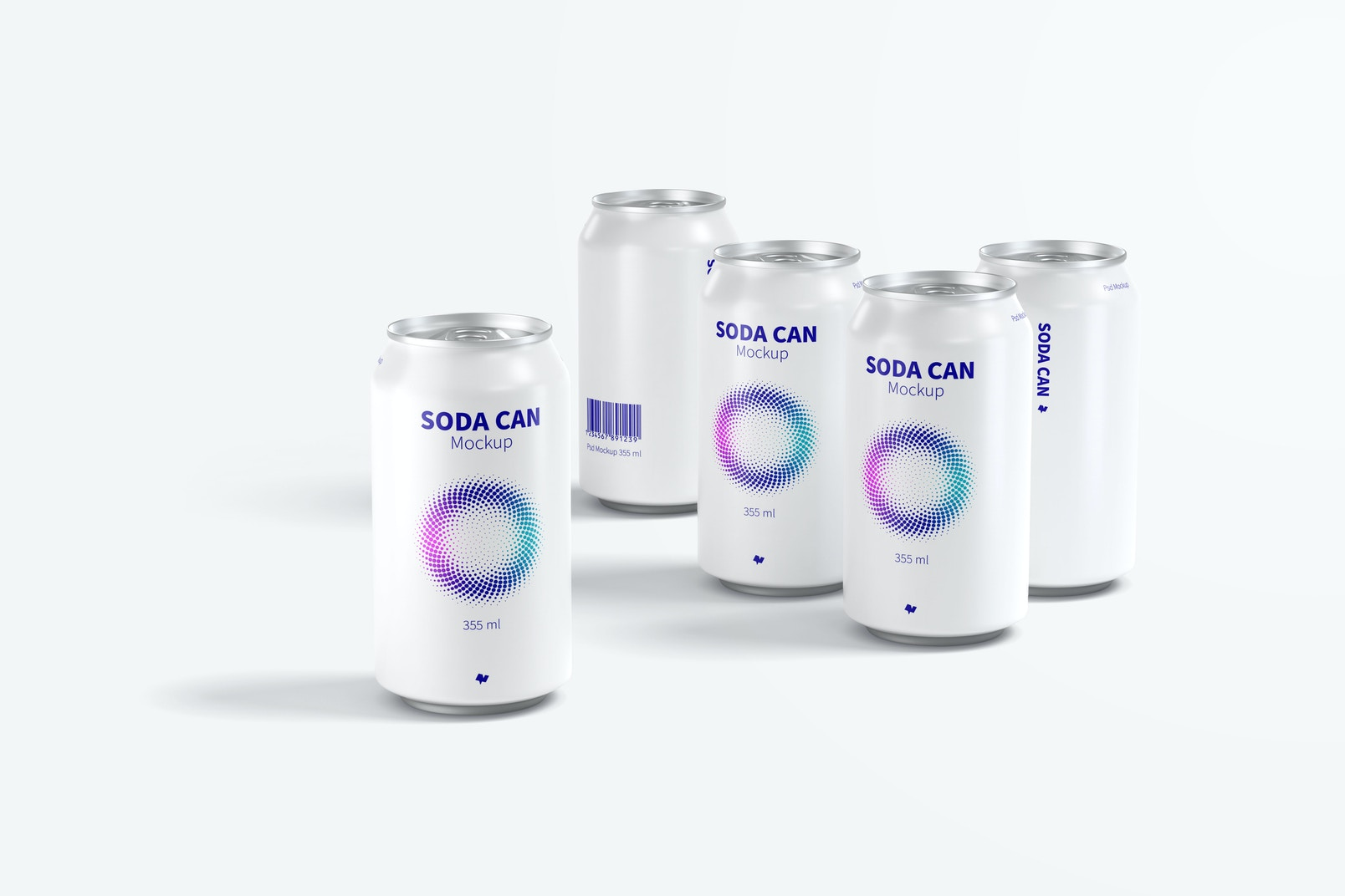 355 ml Soda Can Mockup Set, Front View
