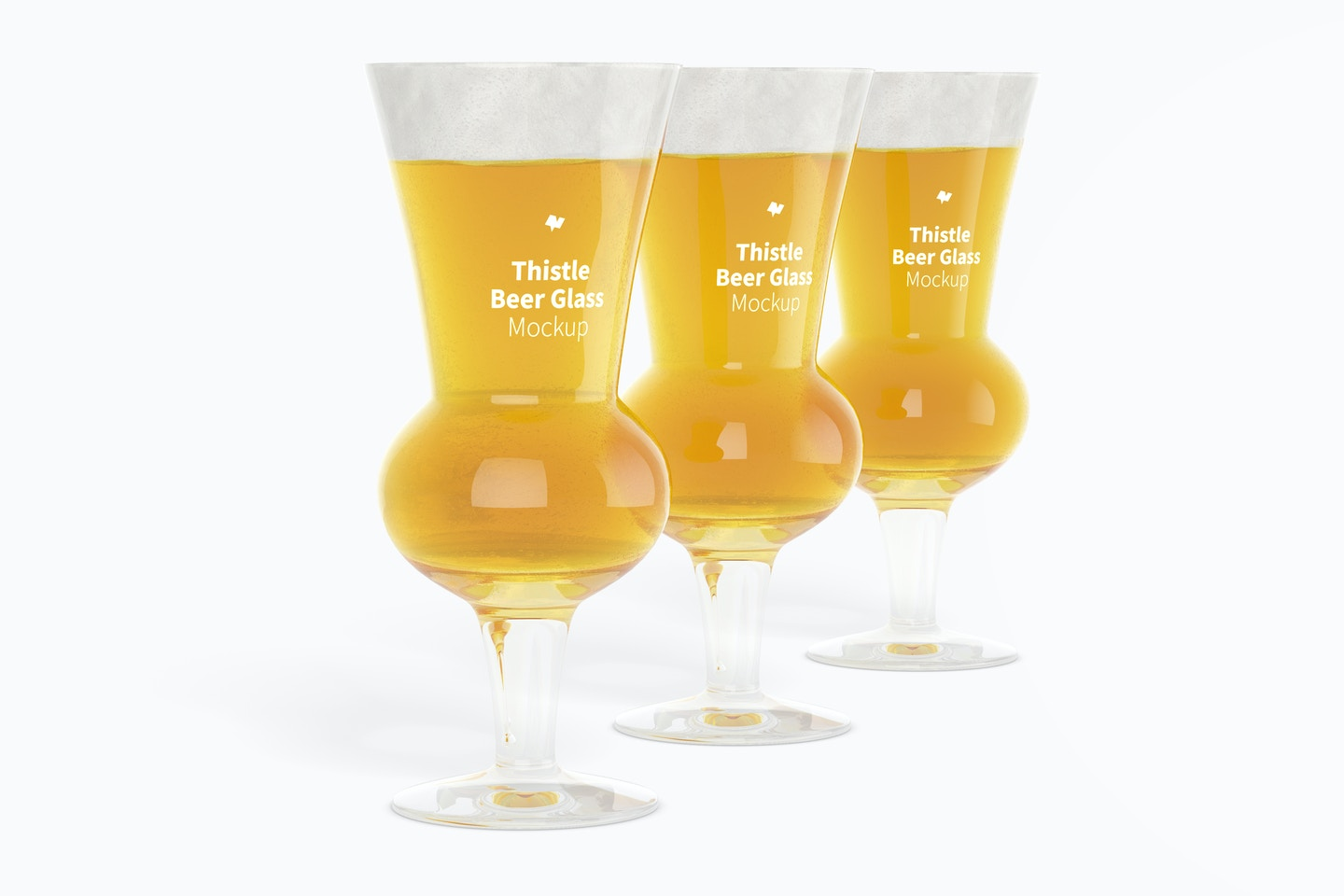 Thistle Beer Glasses Mockup, Perspective
