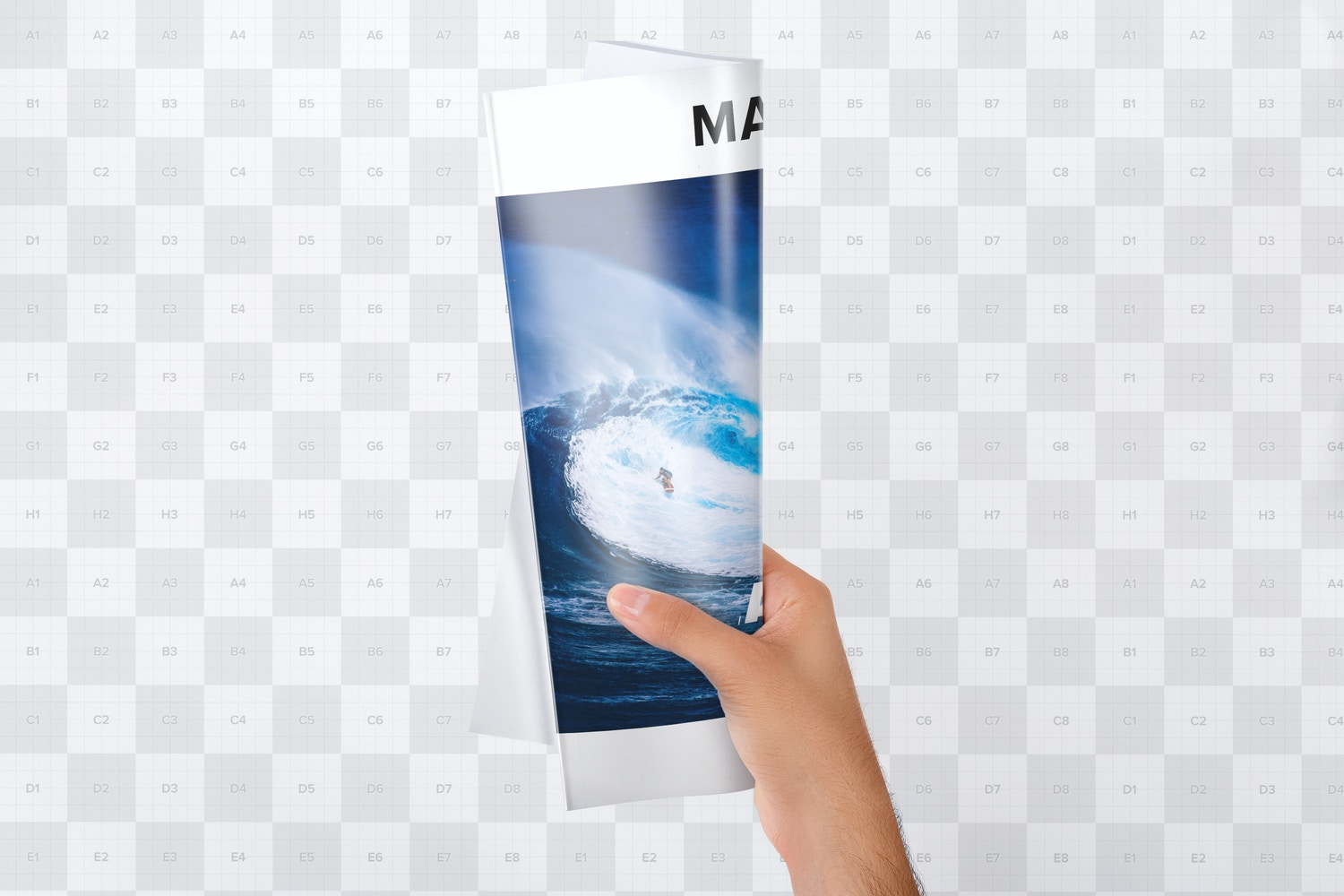Holding A4 Magazine Rolled Mockup - Custom Background