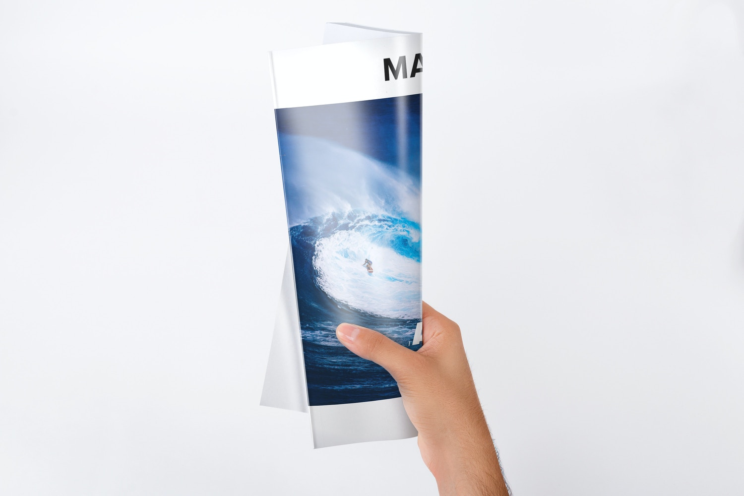 Holding A4 Magazine Rolled Mockup by Original Mockups on Original Mockups