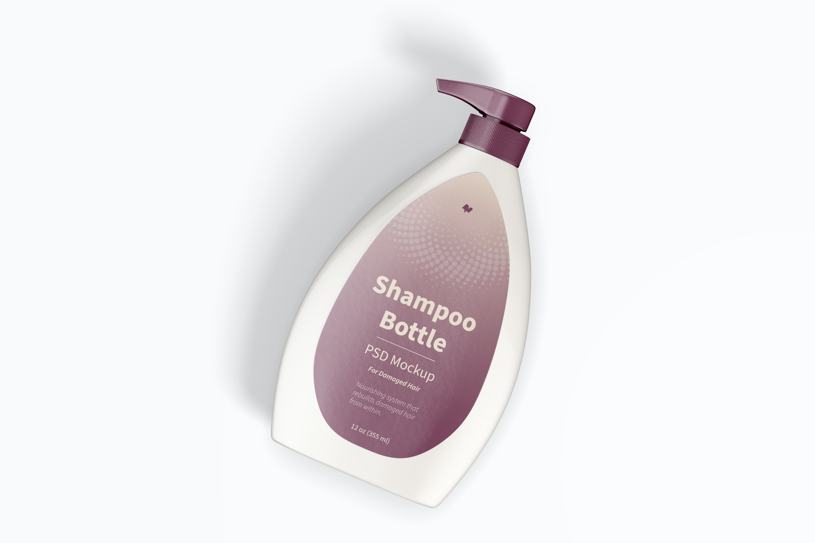 Shampoo Bottle with Pump Mockup, Top View