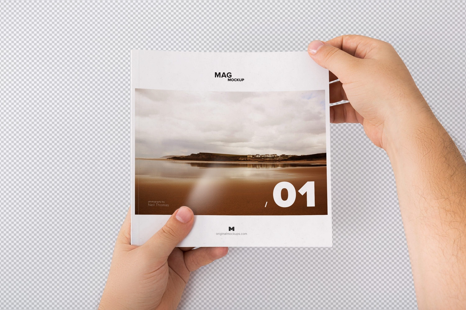 Holding Closed Square Magazine Mockup 01 - Custom Background