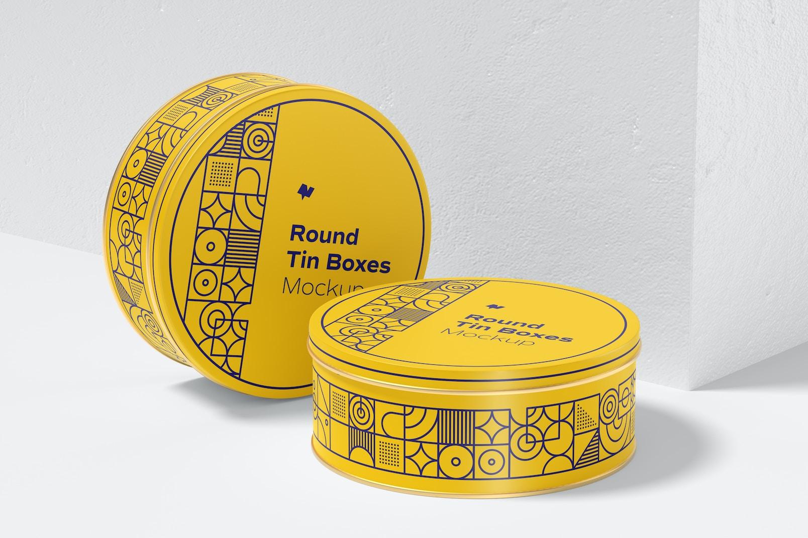 Round Tin Box Mockup, Right View