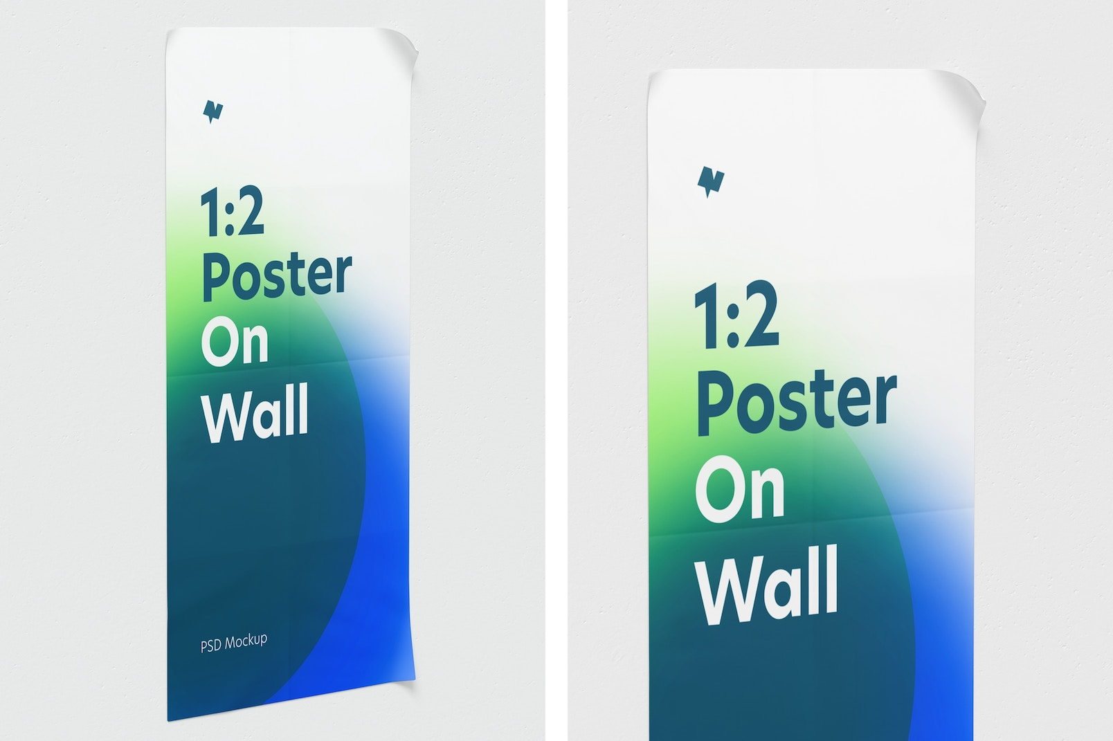 1:2 Poster on Wall Mockup, Perspective View