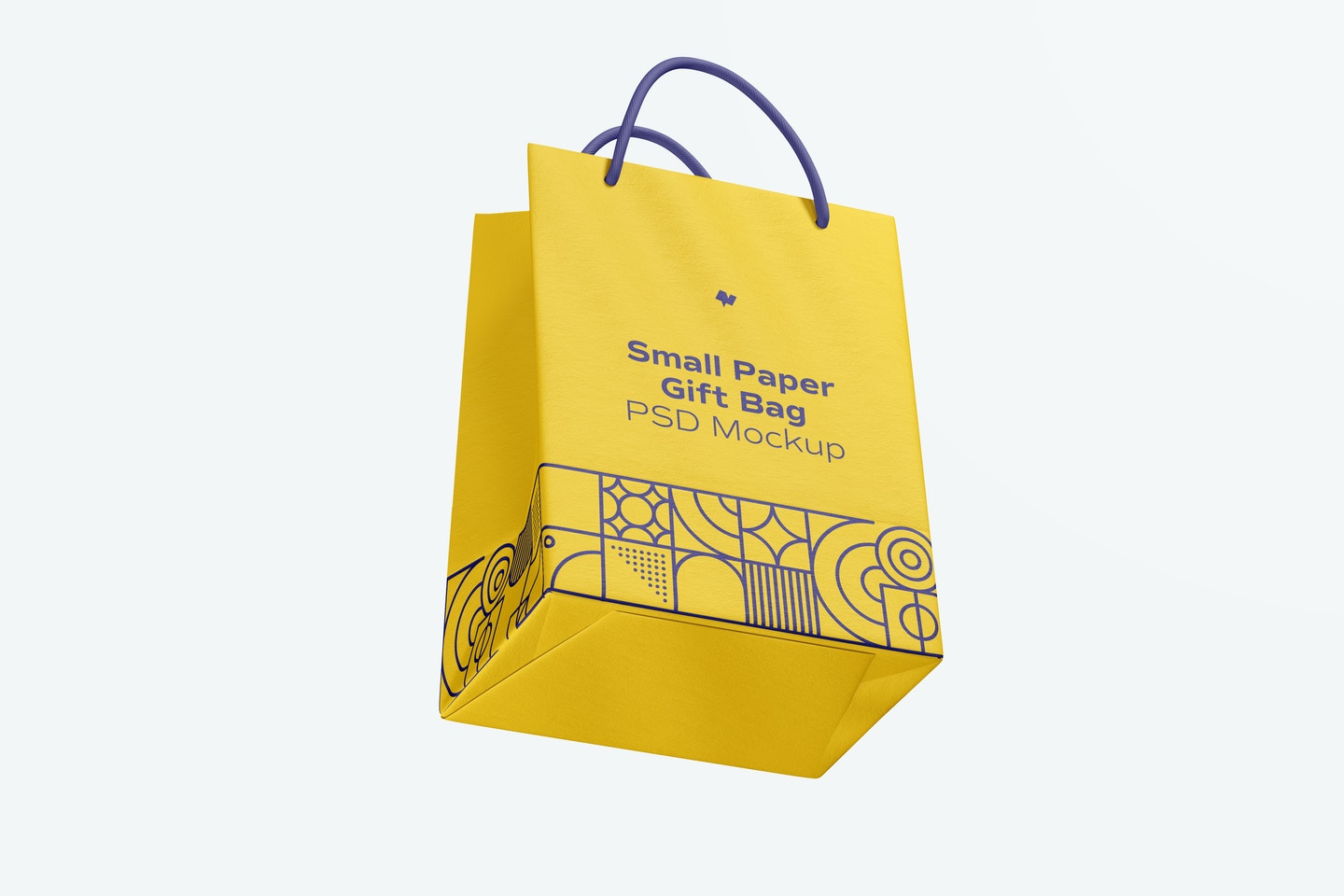 Small Paper Gift Bag With Rope Handle Mockup, Floating