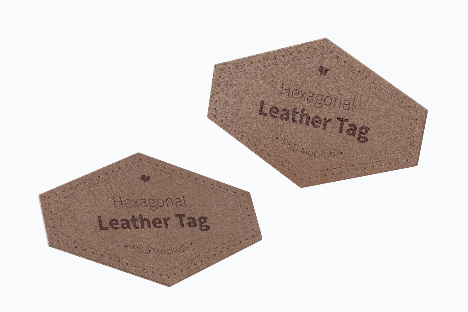 Hexagonal Leather Tags Mockup