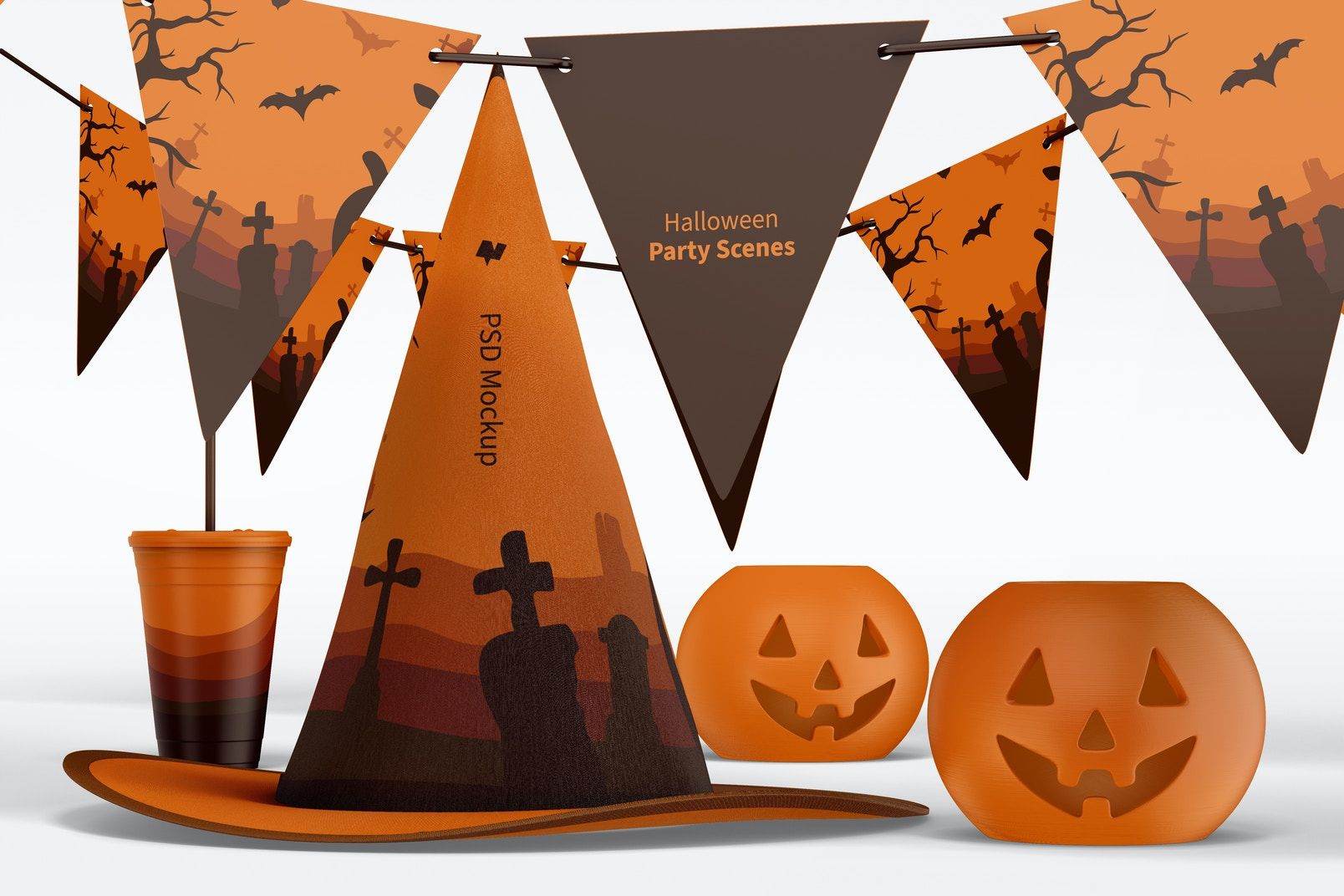 Halloween Party Scene Mockup, Front View 02